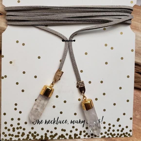 Jewelry - Crystal leather wrap choker bolo boho necklace